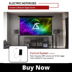 Akia Screens 120 inch Motorized Electric Projector Projection Screen, 16_9, 8K 4K Ultra HD 3D Ready Wall_Ceiling Mounted, 12V Trigger, Remote, AK-MOTO