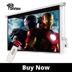Punnkk E8 Best Motorized Projector Screen Size -8Ft(Width) X 6Ft(Height), 120 Inches 4_03, with Remote Control,Electric Projection Screen, Active 3D
